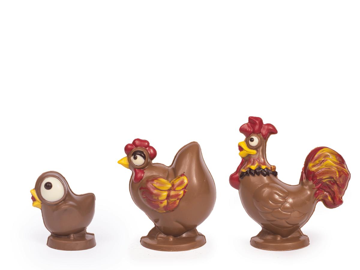 Crazy chicken family 10-16 cm-Decorated milk chocolate
