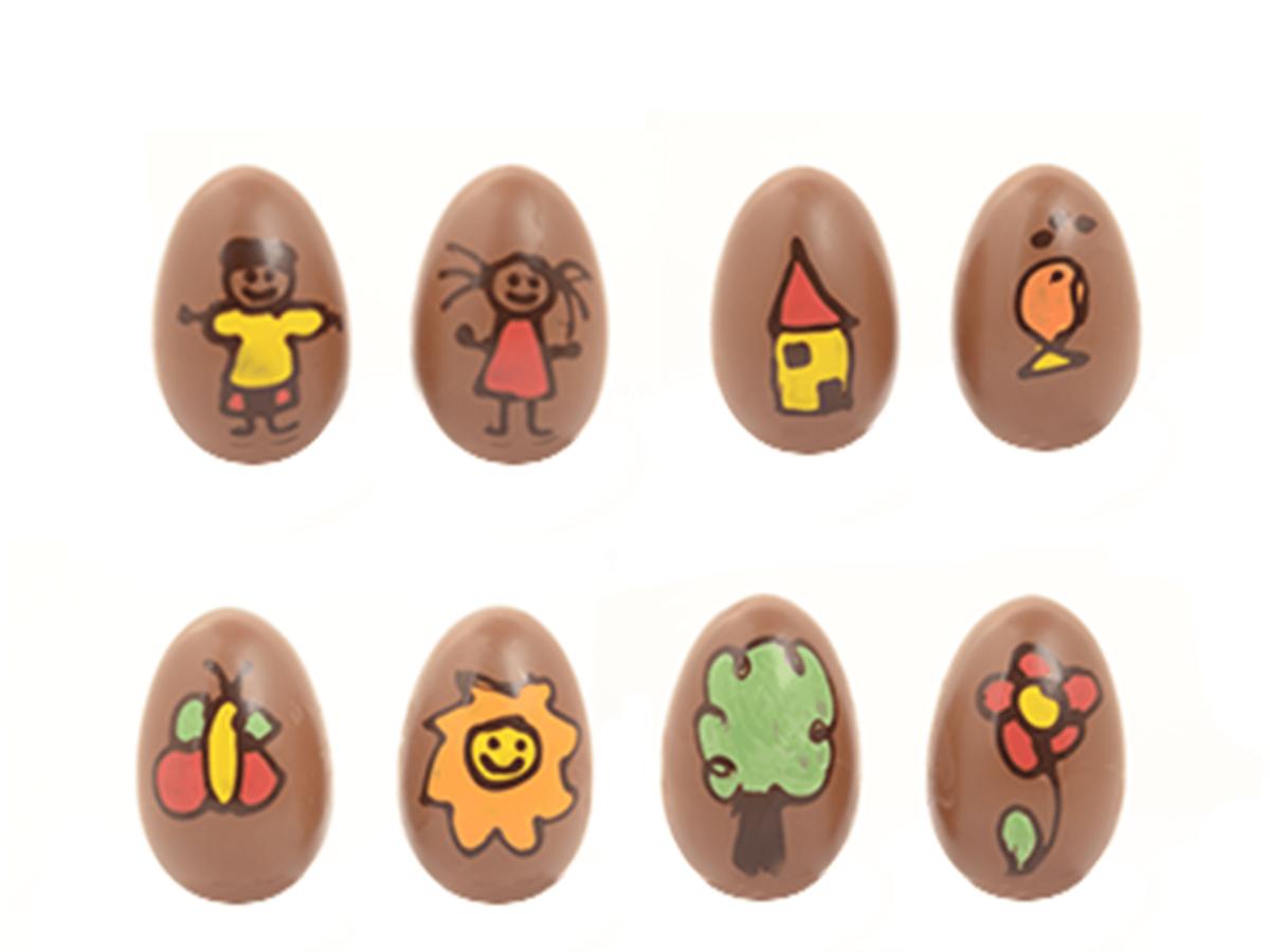 Kids art eggs 10 cm-Decorated milk chocolate