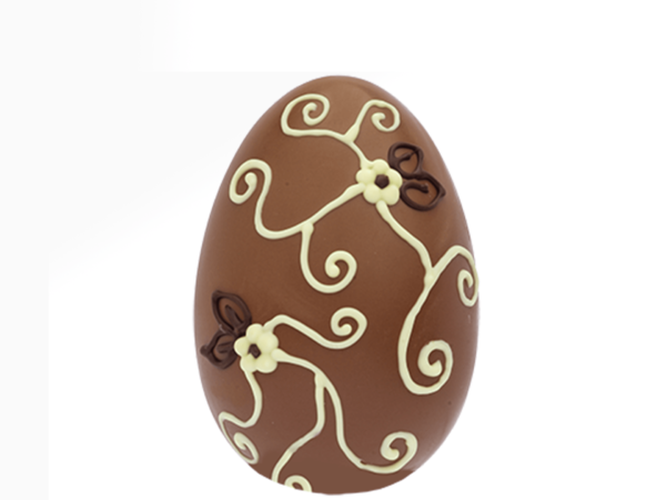 Egg flowers and curls 12 cm-Milk chocolate