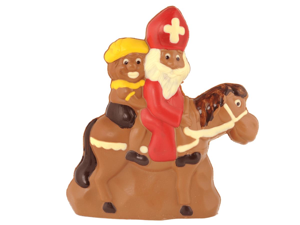 St.Nicholas & Carlo on horse 32 cm-Decorated milk chocolate